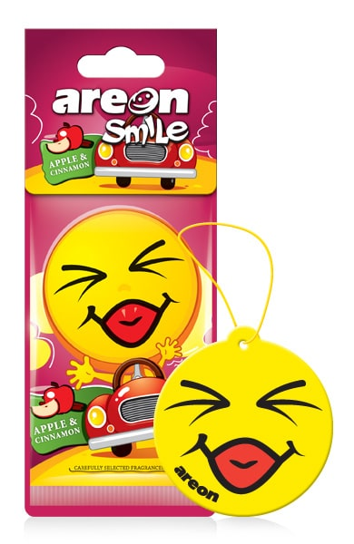 Apple & Cinnamon ASD24 – AREON Smile Funny Car Air freshener (pack of 12)
